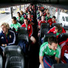 Tour captain Sam Warburton and the rest of the squad are pictured on the bus on the way to training at Scotch College