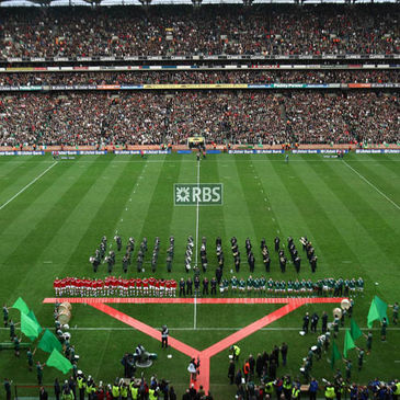The squads line up for the anthems at Croke Park