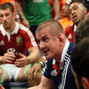 Lions forwards coach Graham Rowntree gets his point across during the half-time break at ANZ Stadium