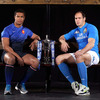 The captains of France and Italy, Thierry Dusautoir and Sergio Parisse, catch up ahead of their sides' opening Championship clash in Paris on Saturday, February 4