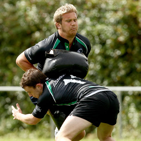Photos of the Connacht players training at Sligo RFC