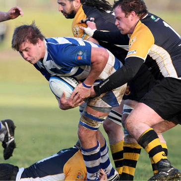 Dungannon back rower Thomas Anderson is tackled by Buccaneers' Michael Diffley