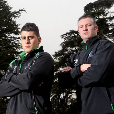 Connacht's Tiernan O'Halloran and Jimmy Duffy