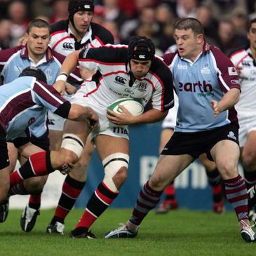 Ulster lock Tim Barker on the charge against Rotherham