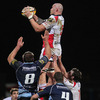 Lock Tim Barker is well-supported as he gets up to win lineout ball for Ulster against the Blues