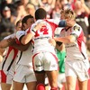 Timoci Nagusa is congratulated by his team-mates after scoring Ulster's early try