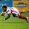 Fijian winger Timoci Nagusa dives over for one of his two tries in Ulster's 22-6 victory over Munster