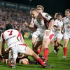 Prop Tom Court cannot contain his delight as flanker David Pollock dots down a vital try for Ulster