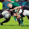 Tom Court, who slotted in for Cian Healy on the loosehead side of the scrum, is pictured taking the ball into contact