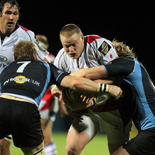 Ulster's Tom Court in action against Glasgow Warriors