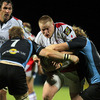 Glasgow captain John Barclay tackles Tom Court as the Ulster prop tries to barge his way forward