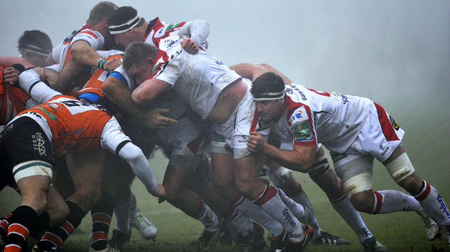 Tom Court and Robbie Diack in action for Ulster