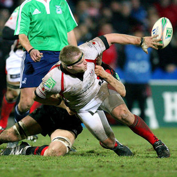 Tom Court offloads for Ulster against Edinburgh