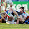 Ulster's Ireland-capped loosehead Tom Court is grounded by the Bath cover with the try-line agonisingly close