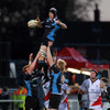 Second row Tom Ryder secures lineout possession for Glasgow as Johann Muller looks on