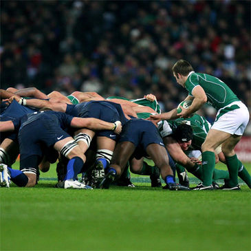 Scrum action from the Ireland v France match last season
