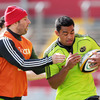 Tomas O'Leary and Lifeimi Mafi are pictured together during the province's runout at Thomond Park