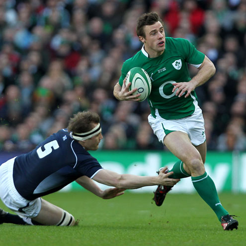 Ireland's Tommy Bowe on the attack against Scotland