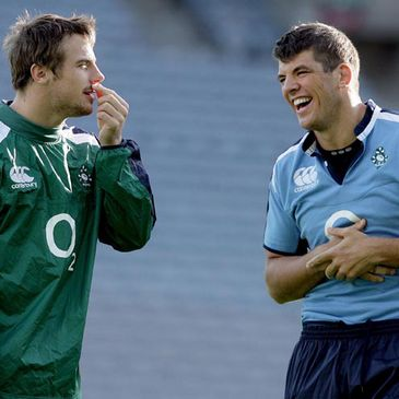 Tommy Bowe shares a joke with Donncha O'Callaghan