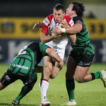 Ulster winger Tommy Bowe is tackled