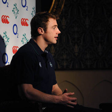 Tommy Bowe takes part in a TV interview