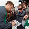 Pictured signing a copy of the Queenstown Times, Tommy Bowe says a winning start against the USA would see the team put their recent defeats 'well and truly behind us'