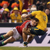 Tommy Bowe had to be sharp in defence as he brought down Joe Tomane, following a cross-field kick from Kurtley Beale