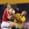 George North's wing colleague Tommy Bowe competes for a high ball with Kurtley Beale, the player who missed two late kicks for the Wallabies last time out