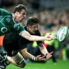 The moment the game turned? Tommy Bowe is pictured illegally preventing Richie McCaw from scoring a certain try