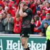 Ireland Grand Slam winner Tommy Bowe reacts after the final whistle as the Ospreys bow out of the Heineken Cup