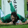 Tommy Bowe outpaced the covering American defenders to slide in beside the posts for his 18th Test try for Ireland