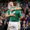 Craig Gilroy was first up to congratulate his Ulster colleague Tommy Bowe, who has now scored seven tries in his last seven games for Ireland