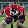 Tommy Seymour, a member of the Ulster Academy, looks for support during Brian McLaughlin's first training session