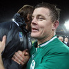 Big prop Tony Buckley congratulates Brian O'Driscoll, who was captaining Ireland to victory for the 51st time in his career
