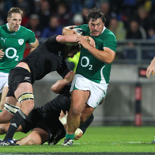 Ireland's Tony Buckley on the attack against the All Blacks