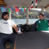 The fishing boat that took the players out around Taiaroa Head was colourfully decorated with the flags of the Rugby World Cup nations