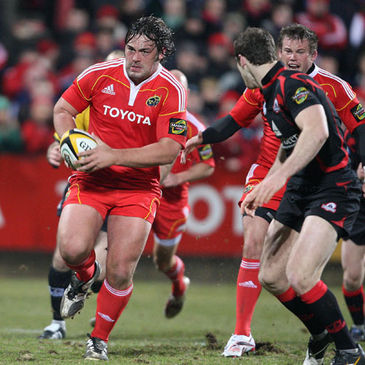 Tony Buckley takes the ball on for Munster