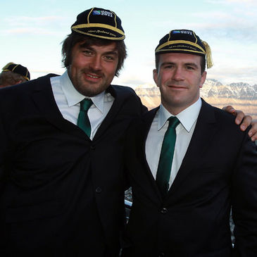 Tony Buckley and Shane Jennings are pictured with their Rugby World Cup caps