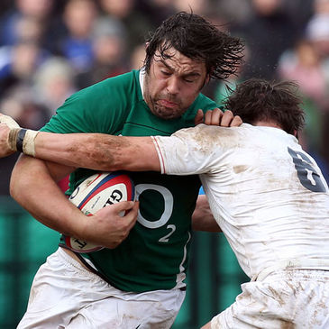 Tony Buckley in action for Ireland 'A' against England Saxons