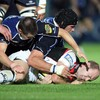 Edinburgh's Calum MacRae has nowhere to go as Leinster duo Jonathan Sexton and Trevor Hogan scrap for possession