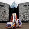 The RaboDirect PRO12 trophy, with Leinster its current holders, is pictured outside the impressive Titanic building in Belfast
