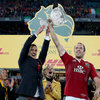 Welsh duo Sam Warburton and Alun Wyn Jones lift the Tom Richards trophy following the Lions' series-clinching win in Sydney