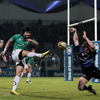 Connacht full-back Troy Nathan tries to clear from near the end line, but Leinster's Eoin Reddan manages to block his kick