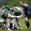 Glasgow's Moray Low tries to block a kick over the top from Connacht full-back Troy Nathan
