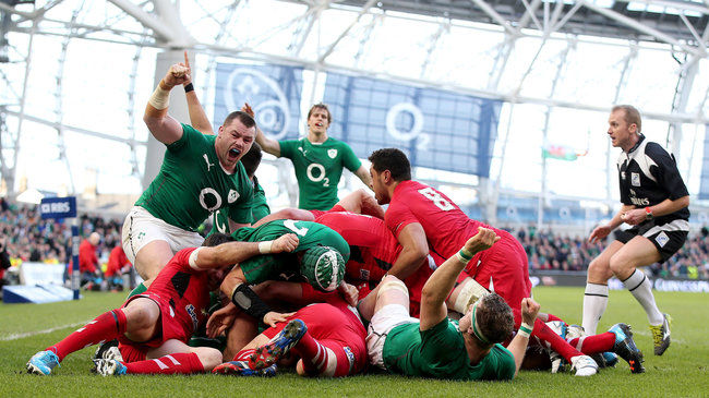 Prop Cian Healy celebrates Ireland's opening try