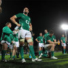 Dan Tuohy, David Wallace and the rest of the Ireland side gather together after the final whistle in New Plymouth