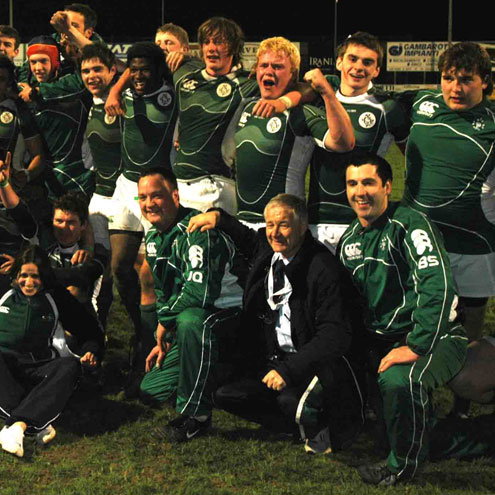 The Under-18 Clubs side and management celebrating their semi-final win over England