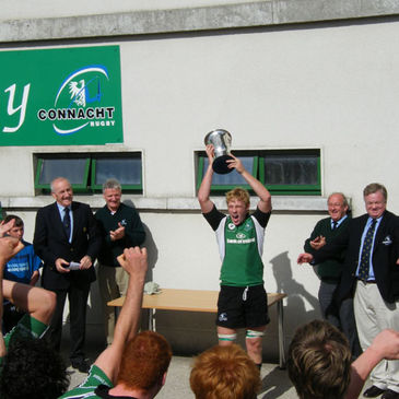 Connacht captain Aaron Conneely lifts the trophy