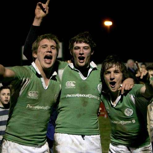 Last season's Ireland Under-20s celebrating their win over France