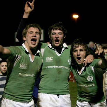 Ireland's players celebrate against France